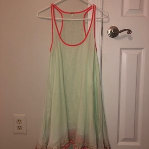 Free People Mint And Red Dress w/ Gold Glitter